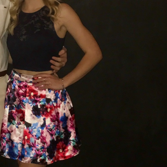 Teeze Me Dresses Dillards Two Piece Navy Floral Dress Poshmark